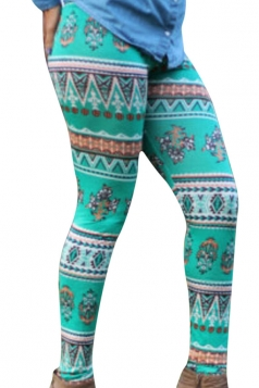 Womens Christmas Printed Ankle Length Leggings Green