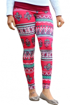 Womens Christmas Printed Ankle Length Leggings Rose Red