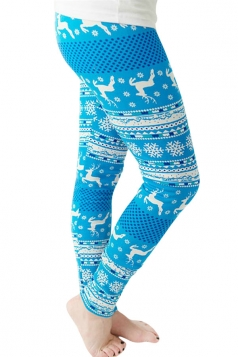 Womens Reindeer and Snowflake Printed Christmas Leggings Blue