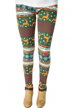 Womens Reindeer and Snowflake Printed Christmas Leggings Dark Green