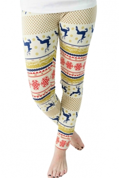 Womens Reindeer and Snowflake Printed Christmas Leggings Khaki
