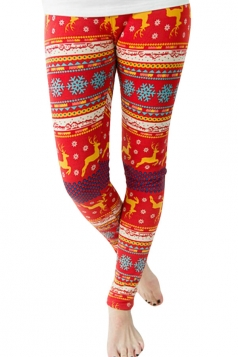 Womens Reindeer and Snowflake Printed Christmas Leggings Red