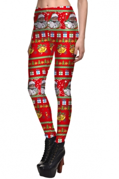 Womens Slimming Christmas Santa Claus Printed High Waist Leggings Red