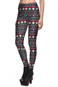 Womens Slimming High Waist Christmas Santa Claus Printed Leggings Red