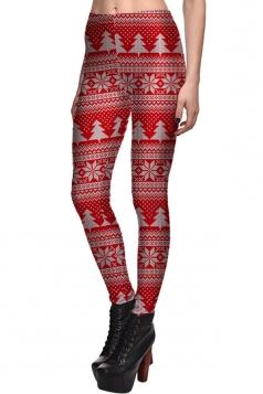 Womens Slimming Christmas Tree Printed High Waist Leggings Red