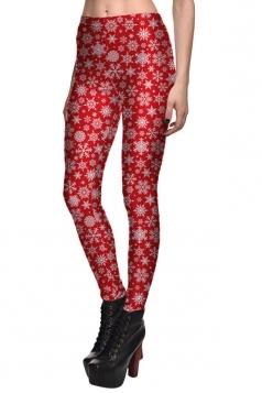 Womens Slimming Christmas Snowflake Printed High Waist Leggings Red