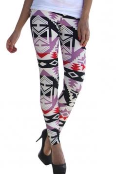 Womens High Waist Ankle Length Geometric Printed Leggings Purple