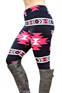 Womens High Waist Ankle Length Geometric Printed Leggings Red
