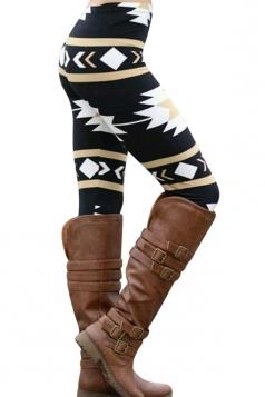 Womens High Waist Ankle Length Geometric Printed Leggings Black