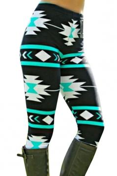 Womens High Waist Ankle Length Geometric Printed Leggings Blue