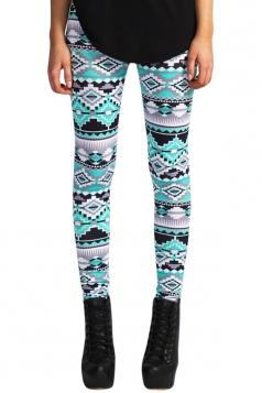 Womens Slimming Geometric Printed Pencil Leggings Blue