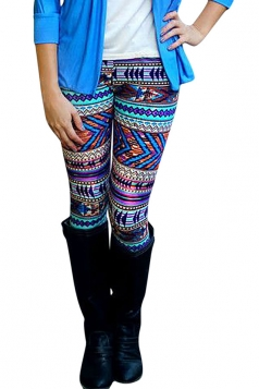 Womens High Waist Geometric Printed Slimming Leggings Purple