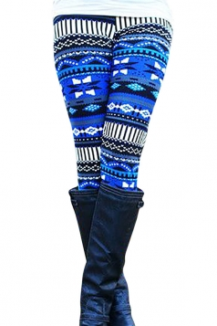 Womens High Waist Geometric Printed Slimming Leggings Blue