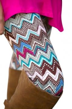 Womens High Waist Color Block Wave Striped Printed Leggings Blue