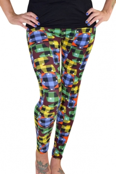 Womens Ankle Length Star Plaid Printed Leggings Yellow