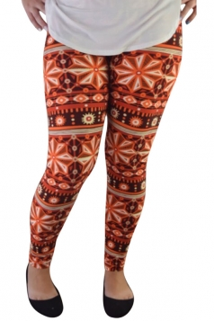 Womens Elastic Geometric Printed Ankle Length Leggings Orange
