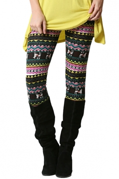 Womens Elastic Christmas Printed High Waist Leggings Yellow