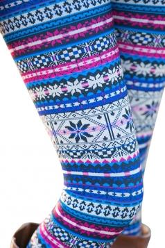 Womens Elastic Christmas Snowflake Printed High Waist Leggings Blue
