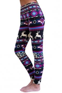 Womens Ankle Length Christmas Reindeer Printed Leggings Purple