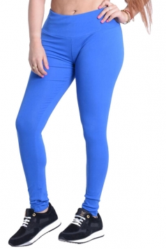 Womens Plain Elastic High Waist Ankle Length Leggings Blue