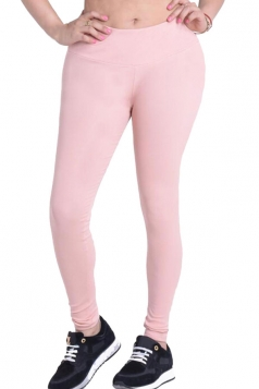 Womens Plain Elastic High Waist Ankle Length Leggings Light Pink