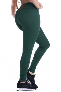 Womens Plain Elastic High Waist Ankle Length Leggings Dark Green