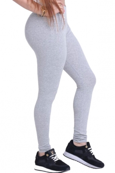 Womens Plain Elastic High Waist Ankle Length Leggings Gray
