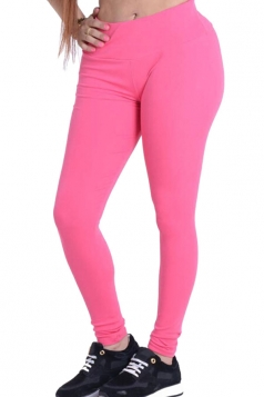 Womens Plain Elastic High Waist Ankle Length Leggings Pink