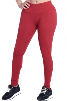 Womens Plain Elastic High Waist Ankle Length Leggings Ruby