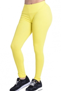 Womens Plain Elastic High Waist Ankle Length Leggings Yellow