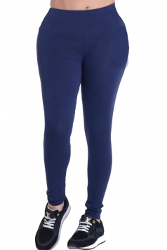 Womens Plain Elastic High Waist Ankle Length Leggings Navy Blue