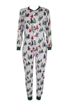 Womens Christmas Tree Printed One-piece Long Sleeve Pajamas White