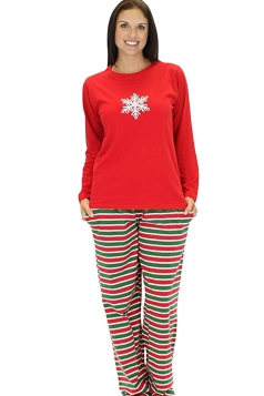 Womens Snowflake Print Striped 2pcs Long Sleeve Christmas Pajamas Red