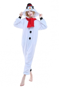 Womens Cute Snowman Hooded Jumpsuit Pajamas White