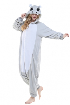 Womens Cute Hippo Hooded Single-breasted Jumpsuit Pajamas Gray