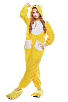 Womens Cute Fox Hooded Pockets Jumpsuit Pajamas Yellow