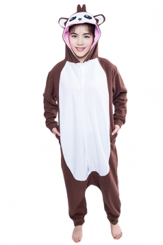 Womens Cute Monkey Hooded Single-breasted Jumpsuit Pajamas Brown