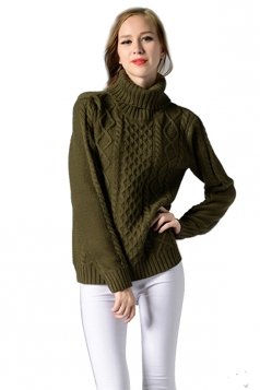 Womens Turtleneck Long Sleeve Cable Knit Pullover Sweater Army Green