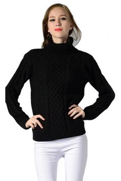 Womens Turtleneck Long Sleeve Cable Knitted Pullover Sweater Black