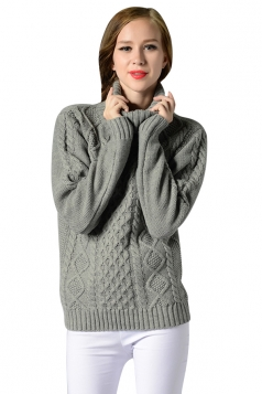Womens Turtleneck Long Sleeve Cable Knitted Pullover Sweater Gray