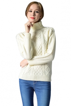 Womens Turtleneck Long Sleeve Cable Knitted Pullover Sweater White
