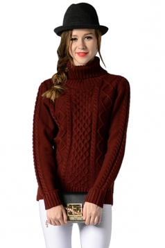 Womens Turtleneck Long Sleeve Cable Knitted Pullover Sweater Ruby