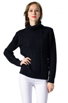 Womens Turtleneck Long Sleeve Cable Knitted Pullover Sweater Navy Blue