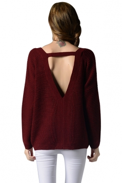 Womens V Neck Long Sleeve Backless Pullover Plain Sweater Ruby