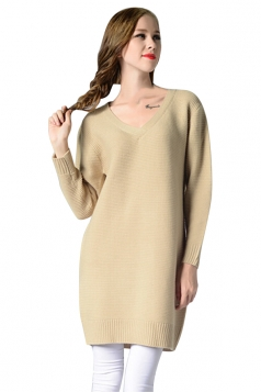 Womens V Neck Long Sleeve Pullover Plain Sweater Dress Beige