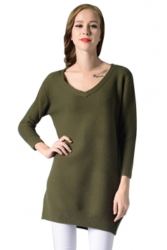 Womens V Neck Long Sleeve Pullover Plain Sweater Dress Green