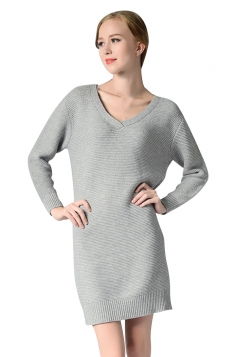 Womens V Neck Long Sleeve Pullover Plain Sweater Dress Gray