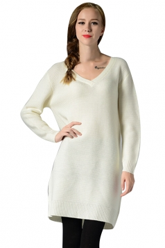 Womens V Neck Long Sleeve Pullover Plain Sweater Dress White