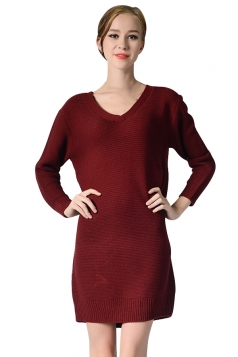 Womens V Neck Long Sleeve Pullover Plain Sweater Dress Ruby