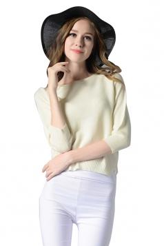 Womens Crewneck Chiffon Patchwork Pullover Plain Sweater White